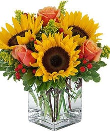 Yellow sunflowers, orange roses in compact cube vase