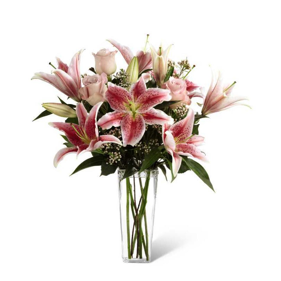 Pink Fragrance Soft Pink Roses Stargazer Lilies Arranged In A Tall