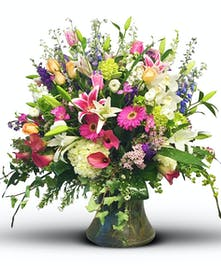Full assortment of garden flowers in vase