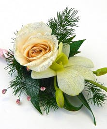 Charm & sparkle adorn this mini rose & orchid with bling & hand ribbon wrap detailing