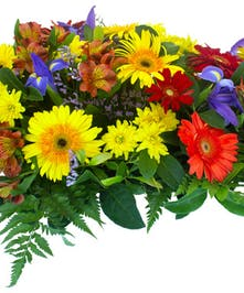 Bold yellow and reds of Gerbera Daisies, lilies, iris and daisies casket spray