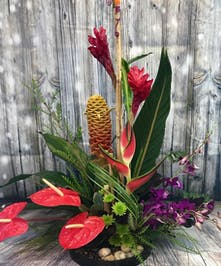 Ginger, Anthurium, Heliconia, Orchids and tropical greenery