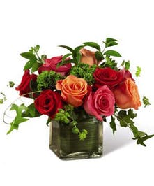 Assorted radiant color roses in stylish design