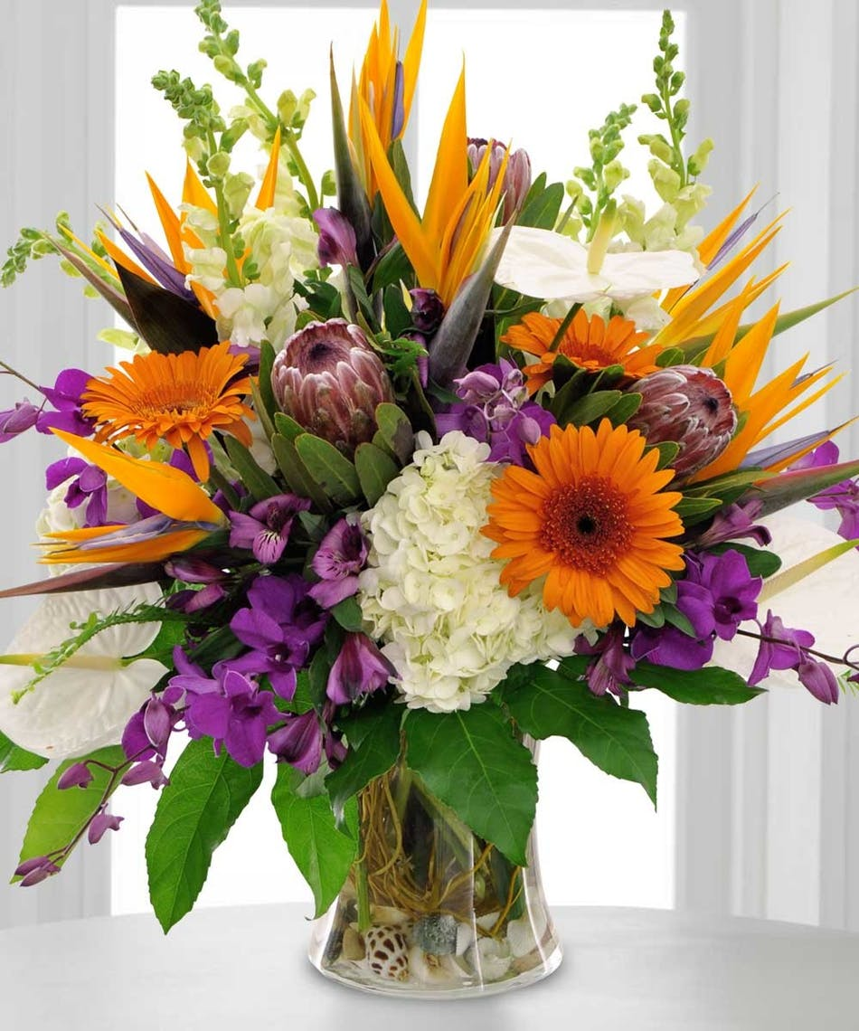 Mix of bird of paradise, gerbera daisies, and assorted blooms in a tall vase filled with seashells