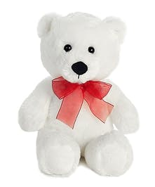 Classic white teddy bear with red bow