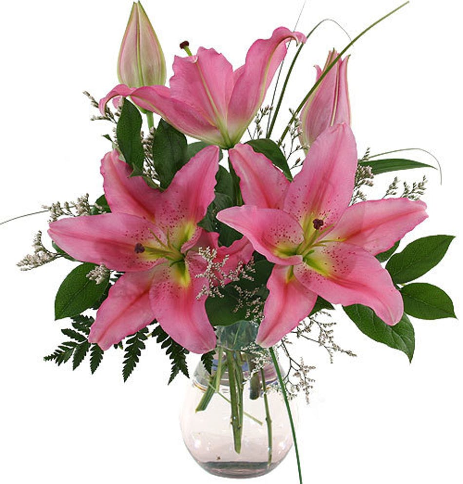 Sweet Dreams Clear Water Vase Full Of Scented Pink Lilies