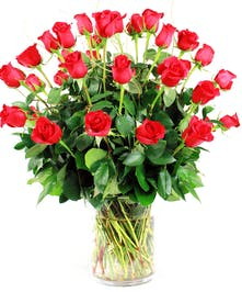 Three dozen roses with assorted greenery and filler in a tall vase