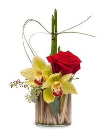 Red rose, Cymbidium Orchid blooms and contemporary grasses in vase