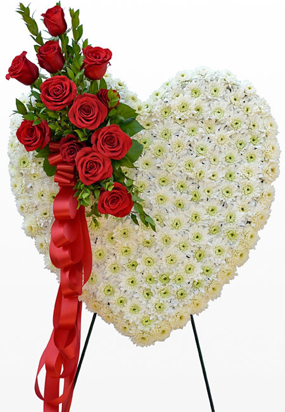 Standing heart a solid white flower heart with offset spray of red standing heart a solid white flower heart with offset spray of red roses and ribbon anchorage ak florist flower delivery bagoys florist gifts izmirmasajfo
