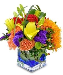 Bright mix of gerbera daisies, carnations, lilies, and more in a compact cube vase with colored gems.