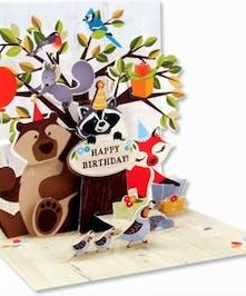 Friendly forest animals in pop-up Birthday card