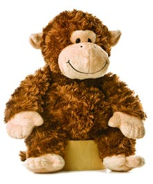 A cuddly-soft brown monkey plushie