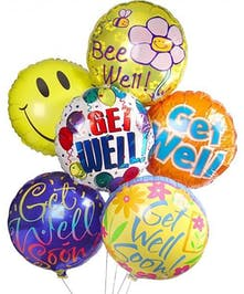 Colorful selection of Get Well Soon balloon bouquet