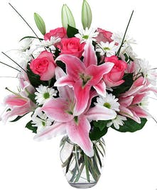 Pink roses, Stargazer Lilies and daisies in a vase