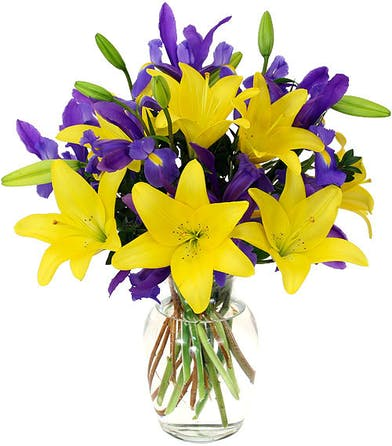 yellow lilies, purple iris, minimal greenery, tall glass vase