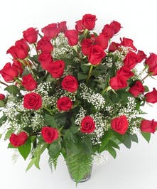 5 dozen red roses gathered with greens in a large vase
