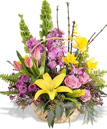 Selection of yellow and pink spring-time garden flowers in basket