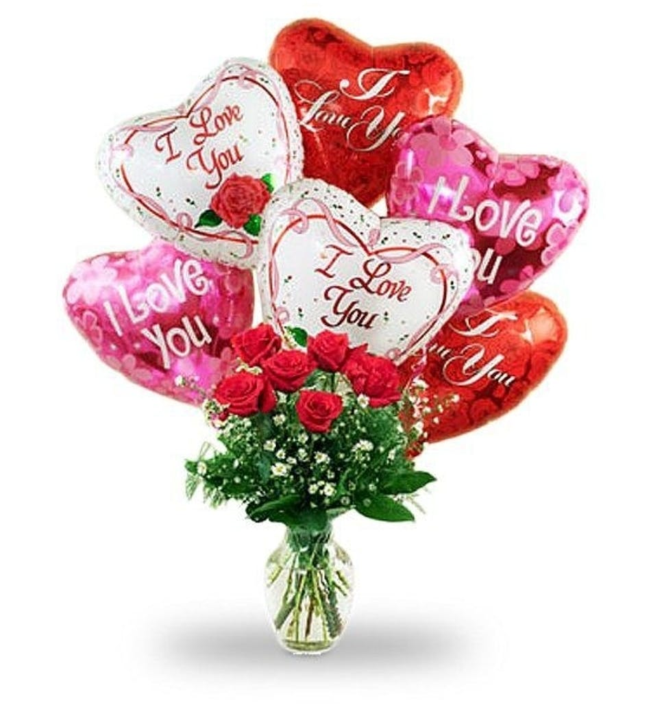 Hello Love Red Roses Arranged In Vase With Love Themed