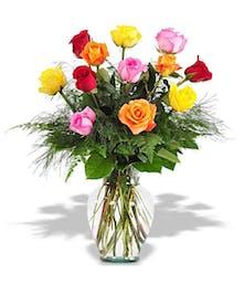 Best-in-house assorted long-stemmed roses in vase