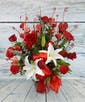 As Shown--dz roses, lily, bow, 3 heart sprays