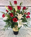 As Shown--18 roses, 3 full lily stems