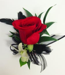 Red Raven Boutonniere